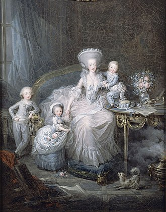 Louis Antoine, Duke of Angoulême - The young duke with his siblings and mother, the Countess of Artois (by Charles Leclercq, c. 1780–1782)