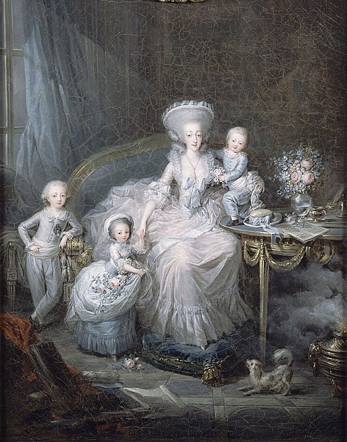 Marie Therese with her three surviving children, by Charles Leclercq, 1783. Famille de la comtesse d'Artois.jpg