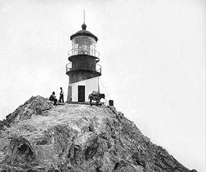 Farallon Island Light - Historic photo of Farallon Island Light, with mule (USCG)