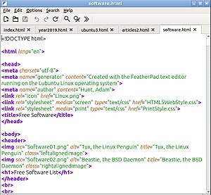 FeatherPad 0.8 showing syntax highlighting while editing a webpage