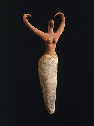 Prehistoric Egypt - Female Figure, ca. 3500–3400 B.C.E. Terracotta, painted, 11½ × 5½ × 2¼ in. (29.2 × 14 × 5.7 cm). Brooklyn Museum
