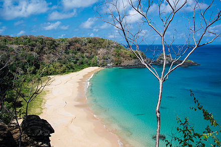 Praia Sancho, beyond this beach, a reserve for some 600 spinner dolphins is established in Fernando de Noronha Archipelago, Pernambuco. Fernando de Noronha - PE - Baia do Sancho.jpg