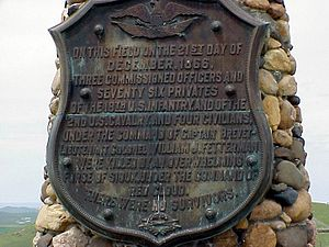 William J. Fetterman - Plaque at Fetterman Massacre site