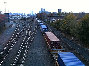Framingham/Worcester Line - CSX freight trains in Beacon Park Yard in Allston in 2010