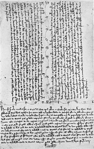 "Chirograph - An English property conveyance (a final concord) in triplicate chirograph form, dating from 1303. The two copies of the agreement at the top were intended for retention by the two parties to the transaction; while the third copy (the ""foot of fine"") was for retention by the court that oversaw the process."