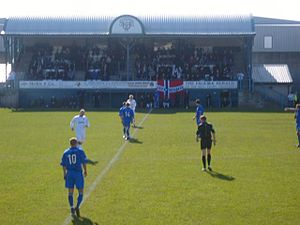 East Stirlingshire F.C. - Firs Park's final match, showing the main stand in the background