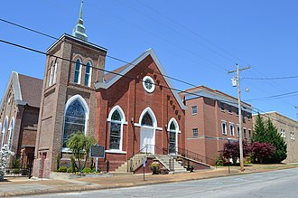 Tuscumbia Historic District - The First Baptist Church in April 2014