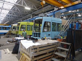 First Hill Streetcar - First Hill Streetcars under construction at the Inekon Trams factory in the Czech Republic