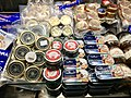 Fiskebryggen, Mathallen, Fishmarket, Bergen, Norway 2018-03-16. Cans with Norwegian caviar, cod liver, jars with anchovies, etc. for sale at Fish Me A.jpg