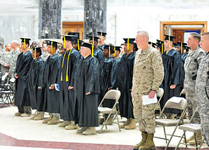 Servicemembers participate in the first colleg...