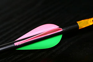 Fletching - Plastic fletching (also known as vanes) - this example is parabolic cut with pink hen vanes (the ones put oblique to the bow when nocked on the string) and a green cock (the one —or ones, with even-numbered vanes— put perpendicular to it)