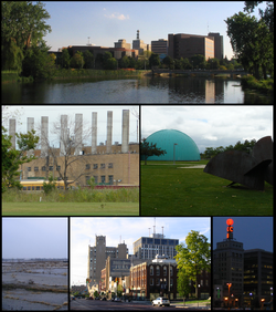 Tap: Skyline as seen frae the Flint River. Middle: GM Powertrain, Longway Planetarium. Bottom: Umwhile steid o Buick City, South Saginaw St., Citizens Bank Weatherball.