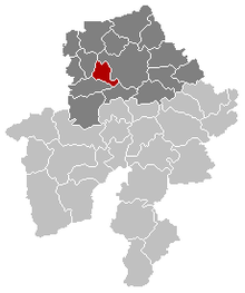 Location of Floreffe in the province of Namur