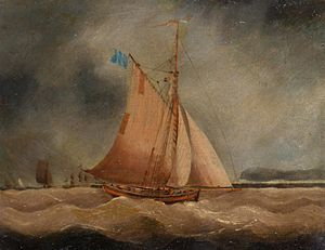 Follower of Thomas Buttersworth - A fishing boat under dark skies.jpg