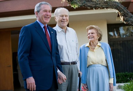 President George W. Bush with Ford and his wife Betty on April 23, 2006; this is the last known public photo of Gerald Ford. Ford and Betty and Bush.jpg