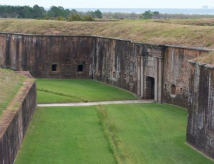 Fort Morgan as it appeared in 2008. The citadel was razed rather than rebuilt, and portions of it are now occupied by the Endicott Batteries. Fort Morgan.jpg