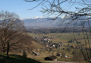"Sennwald - View from ""Trübliweg"" toward the village of Frümsen"