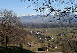 "Sennwald - View from ""Trübliweg"" toward the village of Frümsen"
