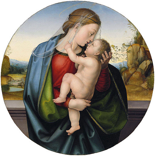 Fra Bartolommeo - The Madonna and Child. Oil on panel (tondo)