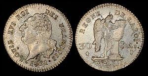 Augustin Dupré - Image: France 1791 A 30 Sols (Louis 16)