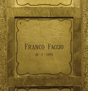 Franco Faccio - Faccio's grave at the Monumental Cemetery of Milan