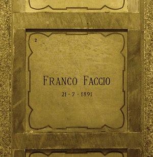 Franco Faccio - Faccio's grave at the Monumental Cemetery of Milan