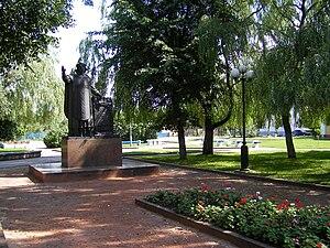 Francysk Skaryna - Francysk Skaryna statue in Lida