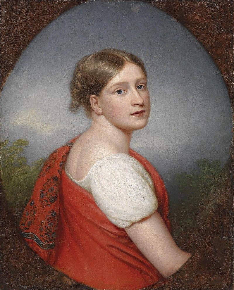Franz Gerhard von Kügelgen (attr) Bildnis einer Dame vor Landschaftshintergrund.jpg