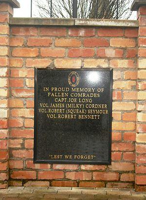 Robert Seymour (loyalist) - Memorial to Seymour and other local UVF members, Frazer Pass