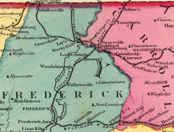 Frederick and Pennsylvania Line railroad from 1873 map.png