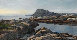 Frederik Collett - Kystlandskap med robåt (1884)