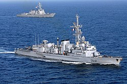 French destroyer Dupleix (D641) and USS Preble (DDG-88) underway in the Arabian Sea on 25 March 2007 (070325-N-0684R-823).jpg