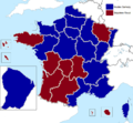 French presidential election (2. round) results (including overseas) by region, 2007.png