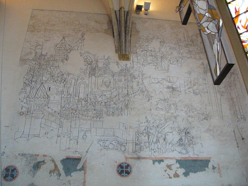Fresco siege of Belgrade 1456 in Olomouc
