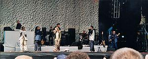 Joy Denalane - Denalane on-stage with Freundeskreis at the Gurtenfestival in Bern, Switzerland in 2000.