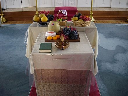 First Fruits brought to be blessed on the Feast of the Transfiguration (Japanese Orthodox Church) Fruits Transfiguration jp.jpg