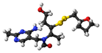 Ball-and-stick model of the fursultiamine molecule