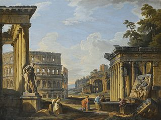 Capriccio of classical Ruins with the Temple of Antonius and Faustina, the Colosseum, the Basilica of Maxentius and the Temple of Venus and Rome, a Man admiring the Farnese Hercules while others Converse with Washerwomen near a