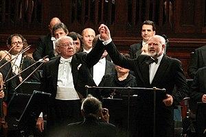 Russian conductor Gennady Rozhdestvensky (left...