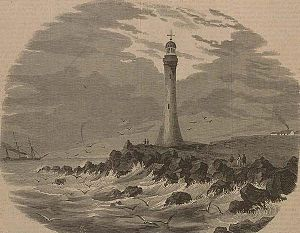 Gabo Island Lighthouse - Gabo Island lighthouse on an 1863 engraving