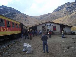 Galera railway station - Tourist train of FCCA at Galera station in 2008