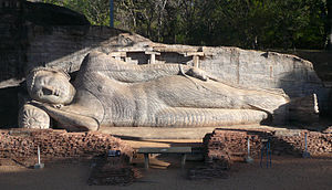 Reclining Buddha - Reclining Buddha of Galvihara at Polonnaruwa (Sri Lanka, 12th century)