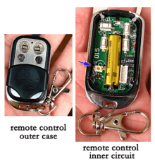 A Typical Photo Of Both The Outer Case And Inner Circuit Garage Door Opener Remote Control
