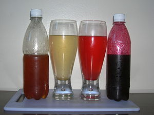 Squash (drink) - Fruit-flavoured squash before and after being mixed with water.