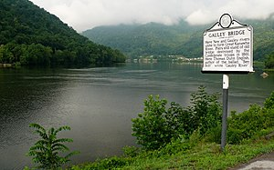 Gauley Bridge, West Virginia - One of several roadside historical markers in Gauley Bridge.  The town of Glen Ferris can be seen in the background.