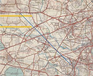 Anglo-French Survey (1784–1790) - The Hounslow baseline and Heathrow Airport's perimeter and 2 main runways superimposed on an Ordnance Survey map of 1935