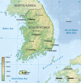Kart over Sør-Korea