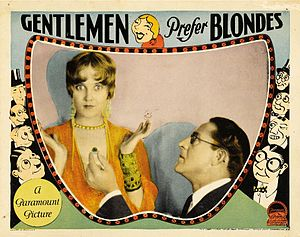 Gentlemen Prefer Blondes (1928 film) - 1928 lobby poster, with Ruth Taylor and Holmes Herbert.