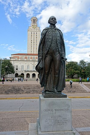 George Washington (Coppini, 1955) - The statue in front of the Main Building, 2015