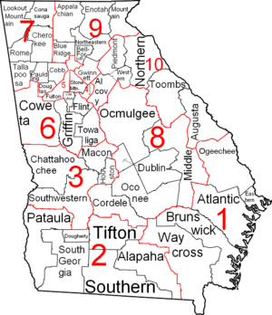 Judiciary of Georgia (U.S. state) - Outline map of Georgia judicial districts and circuits.